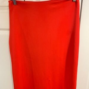 Red stretch pencil skirt